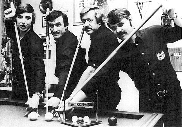Meisterschaft im Jubiläumsjahr von links: Reiner Stecken, Hans Zimmermann, H. G. Wand, Werner Plischka